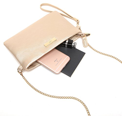 Aitbags Soft PU Leather Wristlet Clutch Crossbody Bag with Chain Strap Cell Phone Purse by Aitbags (Image #1)