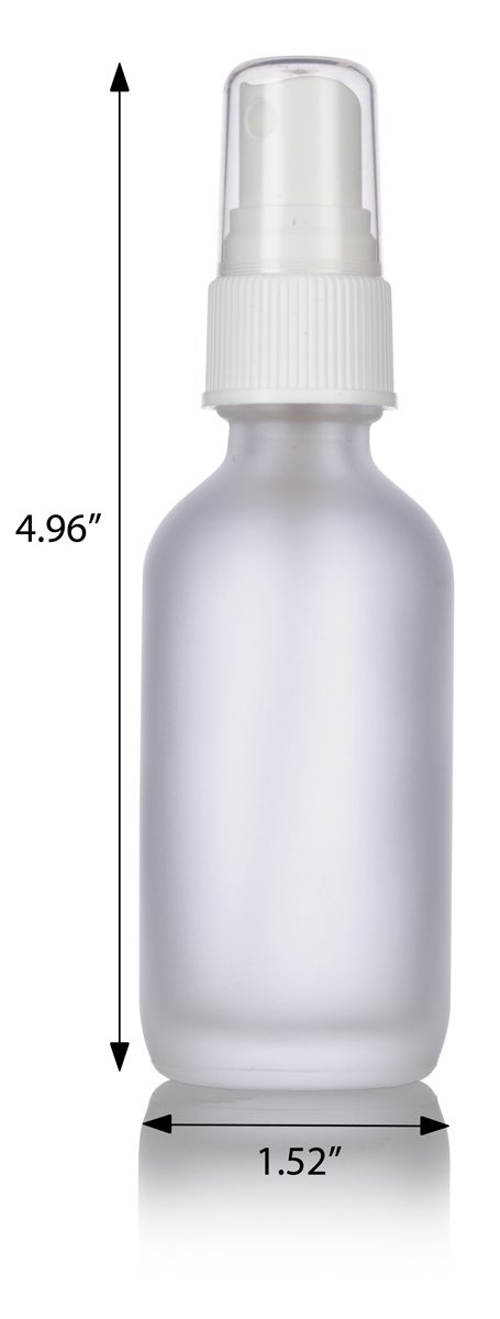 2 oz Frosted Clear Glass Boston Round White Fine Mist Spray Bottle (24 pack) + Funnel and Labels for essential oils, aromatherapy, food grade, bpa free by JUVITUS (Image #2)