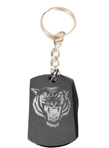 Tiger Lion Roaring Face Fierce Animal Feline Cat Logo Symbols - Metal Ring Key Chain Keychain ()
