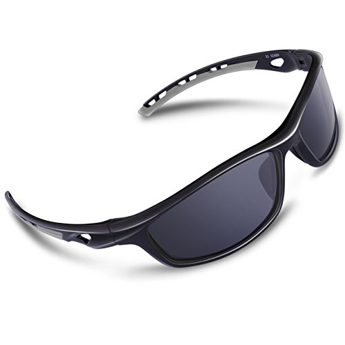 RIVBOS Polarized Sports Sunglasses Driving Sun Glasses shades for Men Women Tr 90 Unbreakable Frame for Cycling Baseball Running Rb833 (Black&Grey)