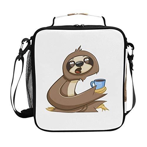 b067b48713fe FANTAZIO Insulated Lunch Box Cofe Sloth Lunch bag Lunch Organizer