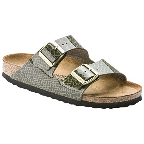 Birkenstock Unisex Arizona Birko-Flor Magic Snake Khaki Sandals 9 W / 7 M US - Khaki Mens Sandals