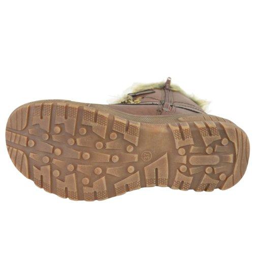 Moda Donna Sete Flat Caldo In Eco-pelliccia Foderato Grip Suola Invernale Neve Stivaletti Scarpe Taglia Ecopelle Marrone