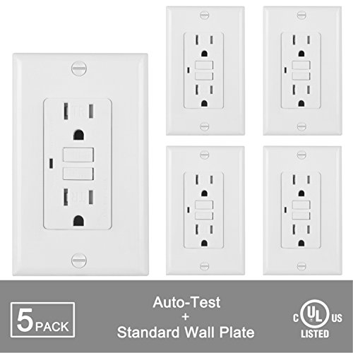 [5 Pack] BESTTEN Self-Test Tamper Resistant GFCI Receptacle Outlet with LED Power Indicator, 15Amp 125Volt, Wall Plate Included, Auto-Test Function, UL Certified