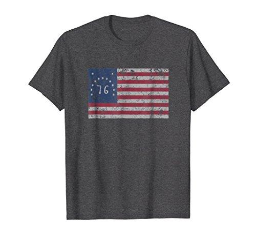 Mens American Bennington Flag United States of America 1776 Shirt 3XL Dark Heather (1776 Flag Bennington)