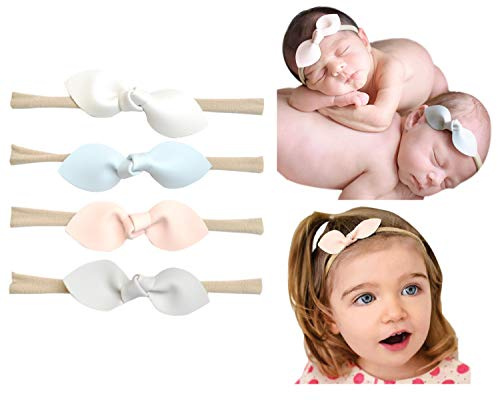 California Tot Rabbit Ears Faux Leather Bow - Soft & Stretchy Headband for Baby, Toddler, Girls, Set of 4 (Pastel)