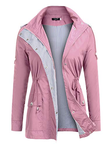 FISOUL Raincoats Waterproof Lightweight Rain Jacket Active Outdoor Hooded Women's Trench Coats Pink ()