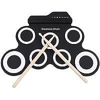 Wiiguda@ Batterie electrique, Tambour Portable avec 7 Pad de Percussion et 2 pédales de pied et des bâtons de tambour pour les débutants et les enfants.