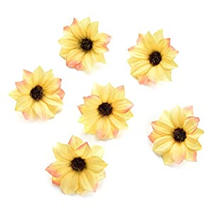 silk flowers in bulk wholesale Rose Artificial Silk Daisy Rose Flowers Wall Heads for Home Wedding Decoration DIY Wreath Accessories Craft Fake Flower 80Pcs 5cm (Yellow) 14