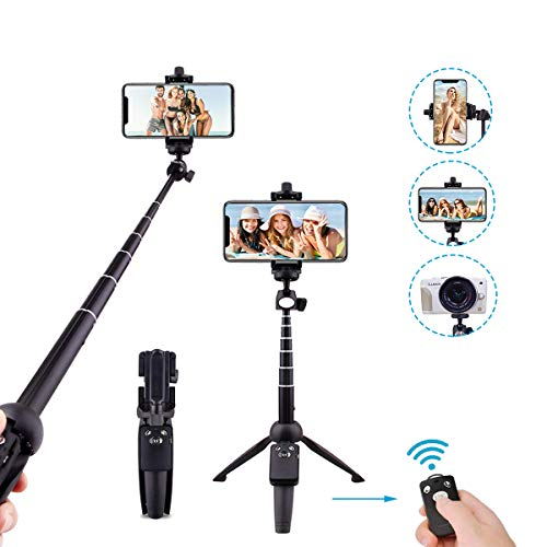 Selfie Stick Tripod, Extendable Selfie Stick with Detachable Bluetooth Remote Control and Monopod for iPhone Xs MAX/XR/XS/X/8/8P/7/7P/6s/6, Galaxy S9/S8/S7/S6/Note 9/8, Huawei and More