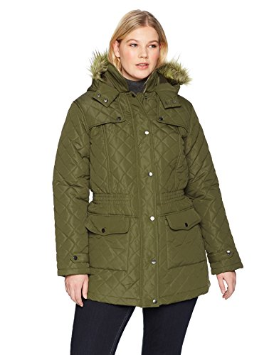 The Plus Project Women's Plus Size Quilted Long Coat With Pockets 3X-Large Khaki