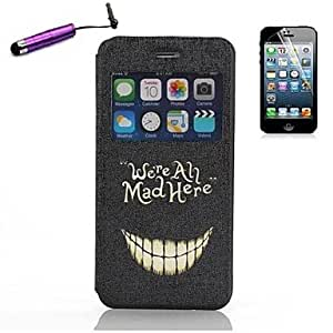 JJE Cartoon Crazy Teeth Pattern Open the Window PU Leather Full Body with Stylus for iPhone 6 Plus