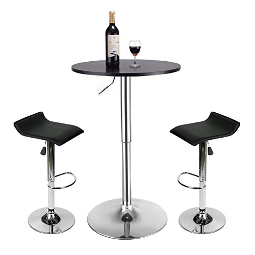 Bar Table Set of 3 - Adjustable Round Table and 2 Swivel Pub Stools for Home Kitchen Bistro, Bars Wine Cabinets (Black S Shape seat+Black Table) 25' Outdoor Swivel Bar Stool
