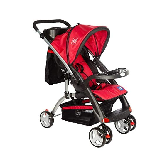 Mee Mee Baby Pram with Adjustable Seating Positions and Reversible Handle (Dark Red)