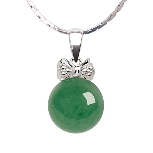 iSTONE Natural Green Jade Aventurine Bowknot Pendant Necklace 925 Sterling Silver Chain 16''