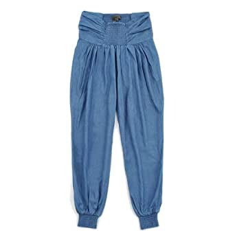 ELLAZHU Womens High Waist Pleated Tapered Harem Leg Ankle Length Jeans Pants Trousers Blue(Size M)