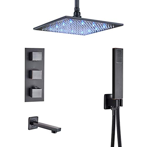 (Rozin Bathrom 3-way Thermostatic Shower Diverter Mixer Control Ceiling Mount 12-inch LED Rainfall Showerhead + Tub Faucet + Handheld Spray Oil Rubbed Bronze)
