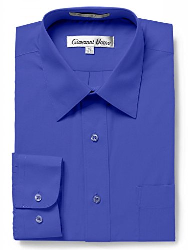 Guayabera Pleated (GIOVANNI UOMO Men's Traditional Fit Solid Color Dress Shirt French Blue 14.5 32/33)