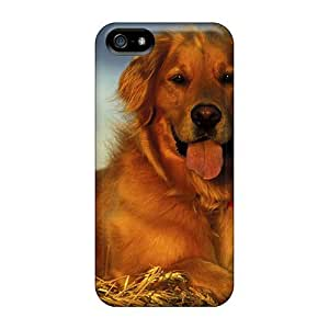 (LnRppVv943Nciyt)durable Protection Case Cover For Iphone 5/5s(golden Retriever In Hay)