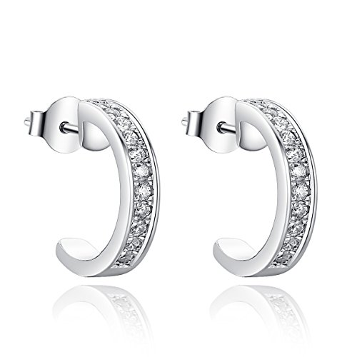 Huggie Half Hoop Tiny Cubic Zirconia Stud Earrings with 18K White Gold Plated for Women and Men (Earring Half Hoop Set)