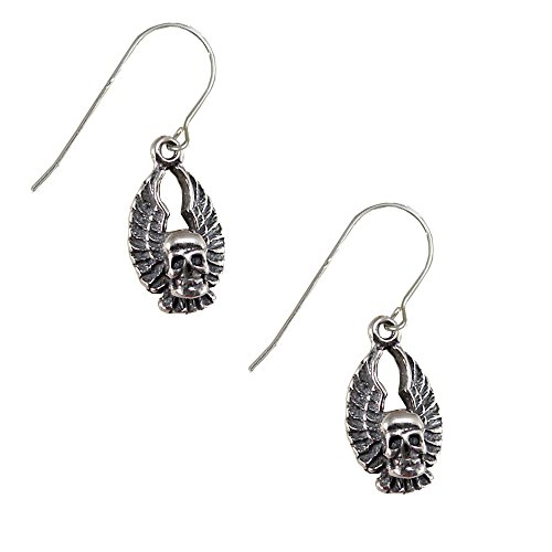 Sterling Silver Biker Winged Skull Drop Dangle Earrings