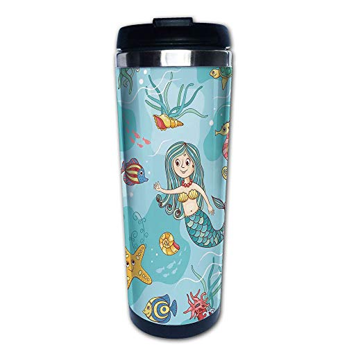 - Stainless Steel Insulated Coffee Travel Mug,Wildlife Tropical Jellyfish Goldfish Cheering,Spill Proof Flip Lid Insulated Coffee cup Keeps Hot or Cold 13.6oz(400 ml) Customizable printing