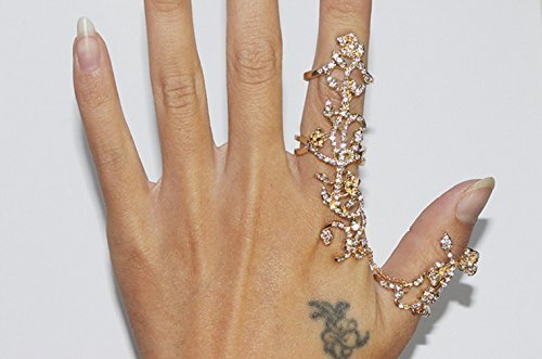 (Zking Vine Rose Rhinestone Armor Knuckle Heart Shield Full Finger Two Band Ring (A-gold))
