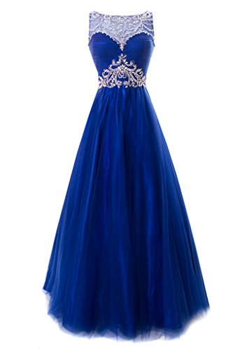 Fiesta Formals Princess Ball Gown Prom Dress Illusion Neckline Royal 3XL