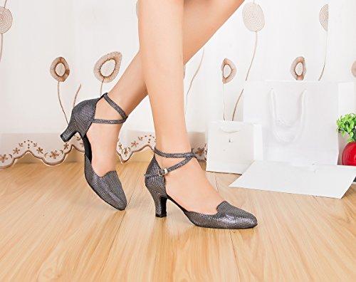 Miyoopark Dames Handgemaakte Elegante Glitter Latin Tango Dansschoenen Dames Avond Pumps Zwart-7cm Hak