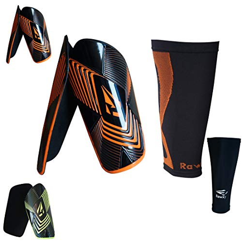 Soccer Shin guards with Extreme Armour Pu Foam Protection, with Compression Sleeve ,Men and Women Fit Height Range 5'9'' ~ 6'5'' ()