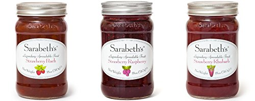 - Sarabeth's Strawberry Variety 18oz-1-Strawberry Rhubarb, 1-Strawberry Peach, 1-Strawberry Raspberry (Pack of 3)
