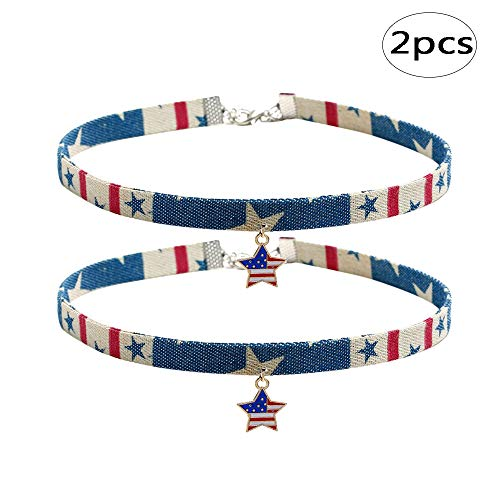 (BinaryABC 4th of July Choker Necklace,Patriotic Fourth of July Independence Day Party Favors,2Pcs)