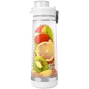 BOTTLED JOY Fruit Infuser Water Bottle, BPA-Free Sports Water Bottle with Fruit Infusion Insert, Flip-top Tritan Water Bottles for Sports Drinks 24oz 700ml (White)