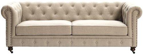 Finley Beige Linen Tufted Back Sofa