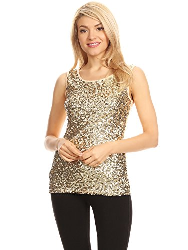 (Anna-Kaci Womens Sparkle & Shine Glitter Sequin Embellished Sleeveless Round Neck Tank Top, Champagne, X-Large )