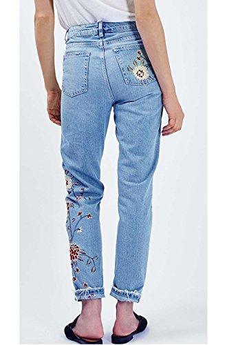 Vita Donne Ricamati Aderenti Fiori Caviglia Le Alta Dei Pantaloni Jeans Blue wxBZqnX