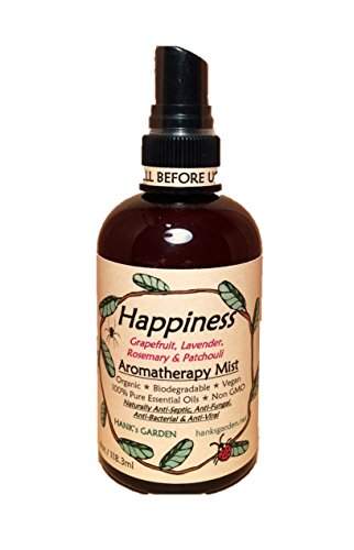 HAPPINESS Aromatherapy Body and Room Mist Spray - Lavender, Grapefruit, Rosemary, Patchouli 100% Pure Essential Oils - All Natural, Vegan, Organic, Biodegradable, Non GMO (4 oz) ()