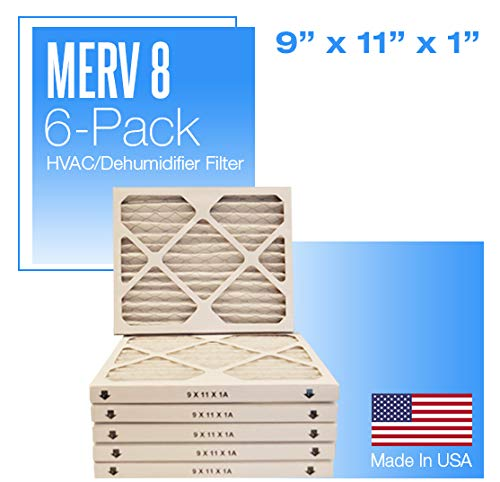 9x11x1 MERV 8 Pleated Air Filter - 6 Pack