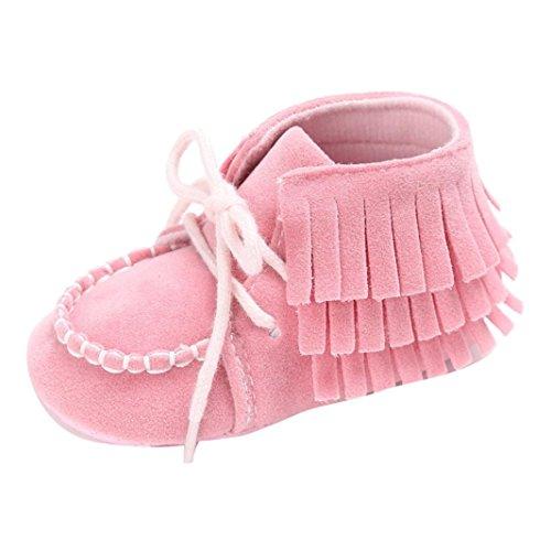 (GBSELL Toddler Baby Newborn Tassel Soft Sole Shoes Boys Girls Anti-Slip Toddler Crib Prewalke (Pink, 12~18 Month))