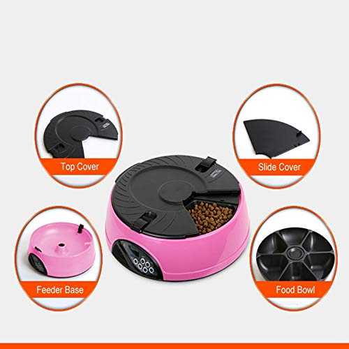 GCSEY Pet Feeder Dry/Wet 6 Meals Tray Electronic Programmable Automatic Feeder for Dog/Cat with LCD Display