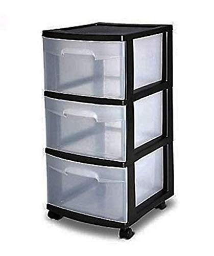 3 Drawer Organizer Cart Black Plastic Craft Storage Container Rolling Bin Set - Containers Cart Storage