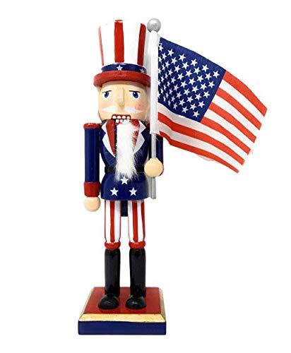 (Northeast Home Wooden Christmas Nutcracker Decor, 10-Inch (Uncle Sam Patriotic))