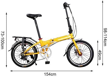 Long 20en Las señoras de la Bici Amarilla, Adultos Plegable Bicicleta de 7 Frenos de Disco de Doble Velocidad, de aleación de Aluminio de Bicicletas Plegables de Bici for Las Mujeres, estudiantiles: