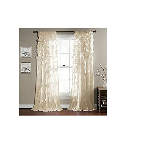 Lush Decor Riley Window Curtain, 84 by 54-Inch, Ivory