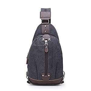 Sling Chest Bag Leparvi Backpack Purse Canvas Fashion Rucksack Unbalance One Strap Cross body Messenger Bag Balance Teen Satchel(Black-2)