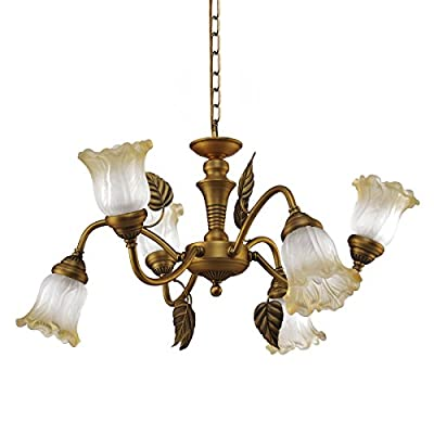 QIRUI Luxury Retro Iron Chandelier Fixture With E12 Lamp Sockets,Ceiling Lighting Holder With Transformer and Lampshade,Decoration for Home Hotel Hall Restaurant 8661