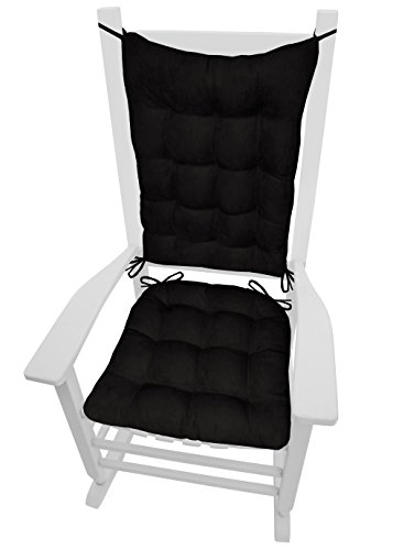 Barnett Products Rocking Chair Cushions - Microsuede Black Micro Fiber Ultra Suede - Standard - Reversible, Latex Foam Fill - Made in USA