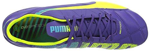 Puma Evospeed 1.3 Lth Fg - Zapatillas de fútbol Prism Violet/Fluro Yellow/Scuba Blue 01