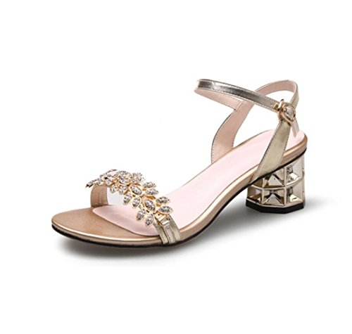 Aire Libre Heel Fashion al Sandalias Rhinestone Block Sandalias Ladies Outdoor Hebilla de Shoes ZXMXY Oro Zapatos Mujer Summer wXaZZp