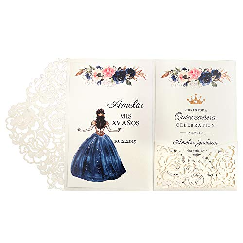 Diy Halloween Birthday Invitations (Doris Home 50pcs 4.7 x7 inch White Laser Cut Hollow Floral Wedding Invitations Cards with Envelopes for Sweet 16 Quinceañera Birthday)